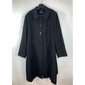 Lands End Button Black Wool Cashmere Overcoat Coat